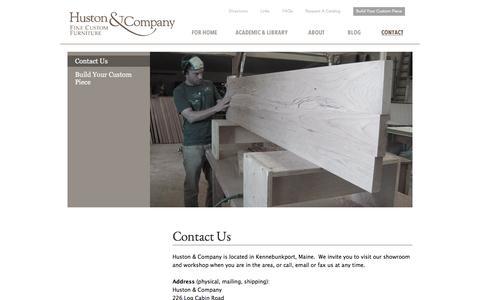 Screenshot of Contact Page hustonandcompany.com - Contact for Custom Maine Made Furniture   Huston and Company - captured Nov. 11, 2016