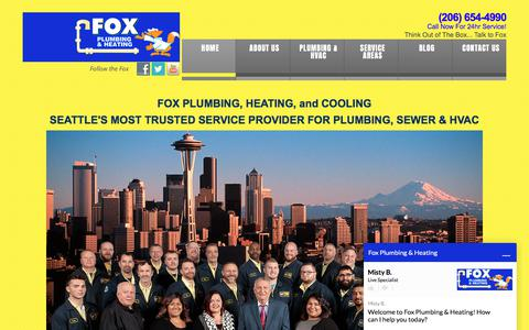 Screenshot of Home Page foxph.com - Seattle Plumber | Sewer, AC & Furnace Repairs | Fox Plumbing, Heating & Cooling in Seattle - captured July 1, 2018