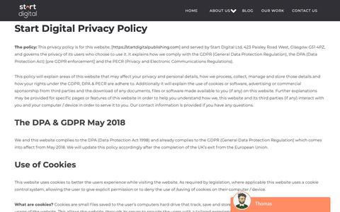 Screenshot of Privacy Page startdigitalpublishing.com - Privacy policy - Start Digital - captured Oct. 18, 2018