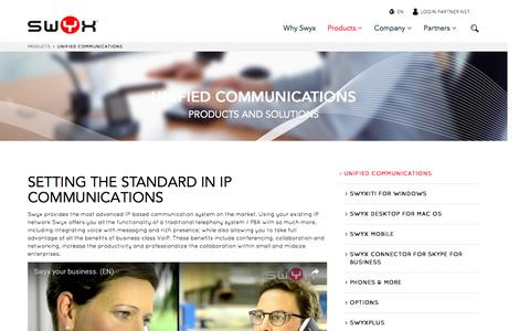 Screenshot of Products Page swyx.com - Unified Communications - Swyx - captured Jan. 28, 2017