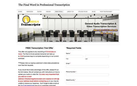 Screenshot of Trial Page omegatranscripts.com - Free Transcription Trial, Free Transcription Sample - The Final Word in Professional Transcription - captured Sept. 30, 2014
