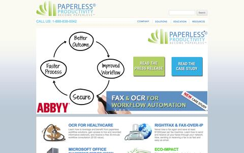Screenshot of Home Page paperlessproductivity.com - Paperless Productivity | RightFax, OCR, Cloud Fax, Soution and Support - captured Jan. 25, 2016