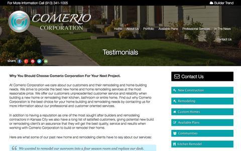 Screenshot of Testimonials Page comeriocorp.com - Contractor testimonial in kansas city Missouri and Kansas City Kansas – Comerio Corporation - captured Jan. 30, 2016
