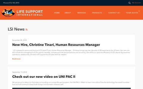 Screenshot of Press Page lifesupportintl.com - LSI News – Life Support International, Inc. - captured Nov. 10, 2018