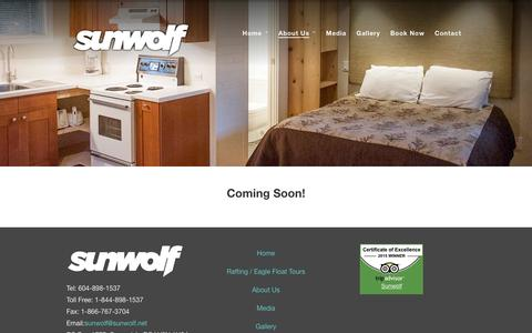 Screenshot of About Page sunwolf.net - Riverside Resort in Squamish, BC offering accommodation in cabins & cottages, restaurant and wedding venue. - captured Jan. 12, 2016