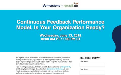 Screenshot of Landing Page cornerstoneondemand.com - CSOD | Continuous Feedback Performance Model. Is Your Organization Ready? - captured Sept. 19, 2018