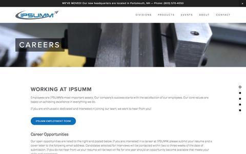 Screenshot of Jobs Page ipsumm.com - Careers | IPSUMM - captured Feb. 4, 2016