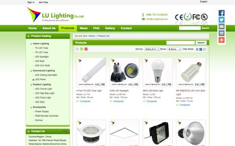 Screenshot of Products Page lu-lighting.com - LED Tube Lights, LED Spot Lights, LED Bulb Lights offered by LU Lighting Co.,Ltd - captured Oct. 2, 2014