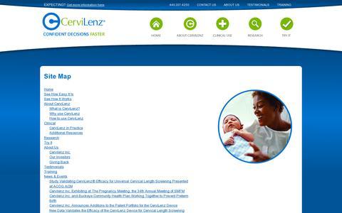 Screenshot of Site Map Page cervilenz.com - CerviLenz - Site Map - captured July 18, 2014