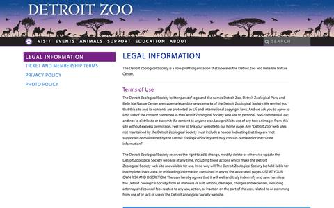 Screenshot of Terms Page detroitzoo.org - Legal Information - Detroit Zoo - captured June 27, 2017