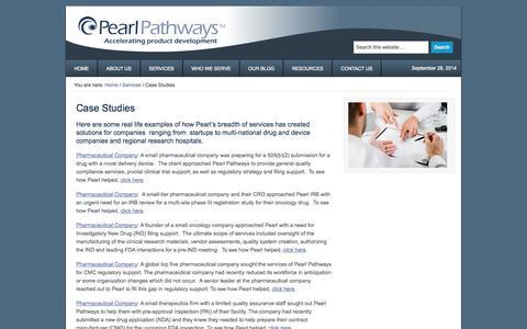 Screenshot of Case Studies Page pearlpathways.com - Case Studies — Pearl Pathways - captured Sept. 29, 2014