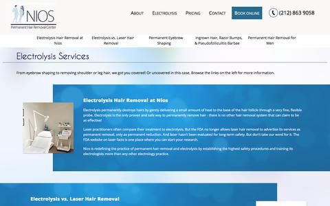 Screenshot of Services Page niosspa.com - Electrolysis services New York, NYC 10019 | Nios Spa - captured June 14, 2017