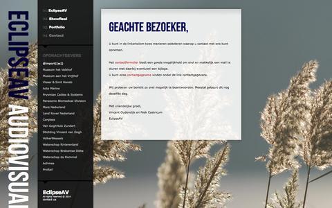 Screenshot of Contact Page eclipseav.nl - EclipseAV   Contact - captured Sept. 27, 2014