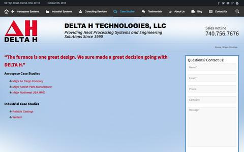 Screenshot of Case Studies Page delta-h.com - Case Studies - DELTA H TECHNOLOGIES - captured Oct. 5, 2014