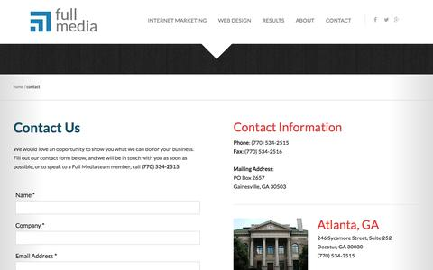 Screenshot of Contact Page fullmedia.com - Contact Us | Full Media - captured Sept. 19, 2014