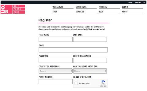 Screenshot of Signup Page gulfphotoplus.com - GPP: Register - captured July 25, 2018
