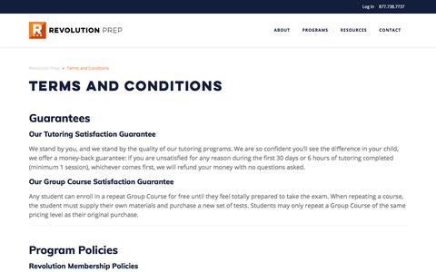 Terms and Conditions | Revolution Prep