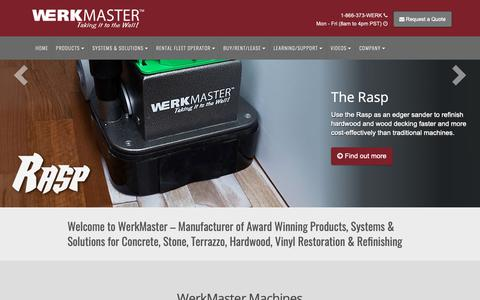 Screenshot of Home Page werkmaster.com - Floor Grinding & Polishing Equipment Manufacturer | WerkMaster - captured Nov. 18, 2018