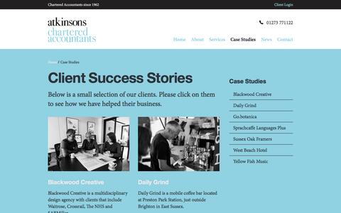 Screenshot of Case Studies Page atkinsonsca.co.uk - Case Studies | Atkinsons Chartered Accountants, Brighton, Hove, Sussex - captured Nov. 21, 2016