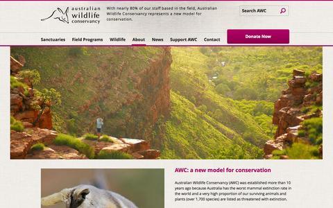 Screenshot of About Page australianwildlife.org - Australian Wildlife Conservancy - captured Oct. 4, 2014