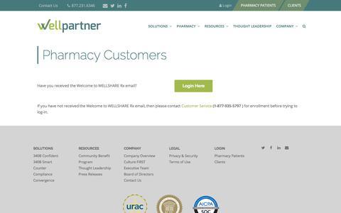Screenshot of Login Page wellpartner.com - Pharmacy Customers – Wellpartner, Inc. - captured Oct. 20, 2017