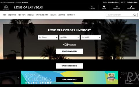 Screenshot of Home Page lexusoflasvegas.com - Lexus of Las Vegas, Official Southern NV Dealer, Visit Today - captured May 15, 2019