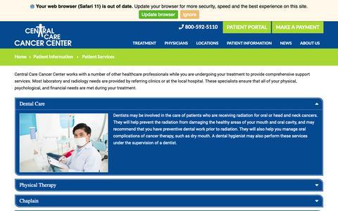 Screenshot of Services Page cccancer.com - Patient Services  |  Central Care Cancer Center - captured Sept. 27, 2018