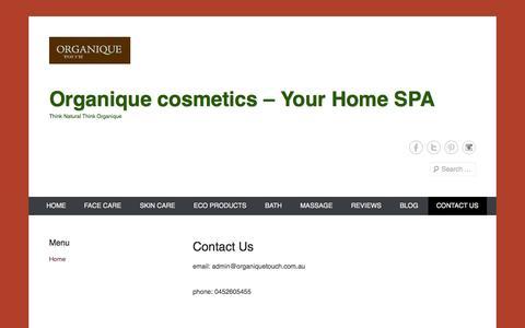 Screenshot of Contact Page organiquetouch.com.au - Contact Us | Organique cosmetics - Your Home SPA - captured Oct. 6, 2014