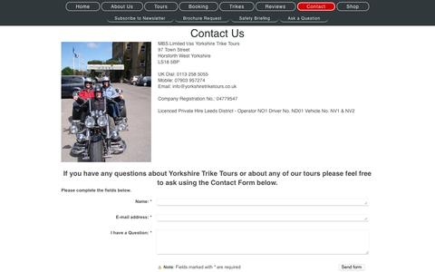 Screenshot of Contact Page yorkshiretriketours.co.uk - Yorkshire Trike Tours, Judith Richards Managing Director, Jason Richards Chauffeur & Lottie the Trike - captured Aug. 11, 2016