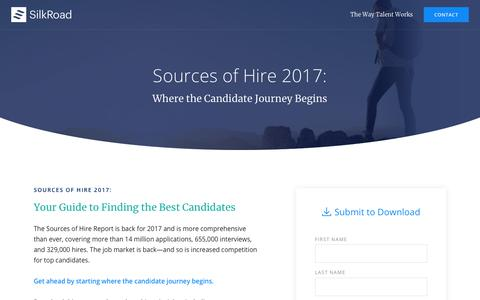 Screenshot of Landing Page silkroad.com - Sources of Hire 2017 - captured March 27, 2018