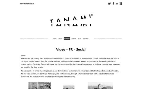 Screenshot of Services Page tanami.co.uk - Services - Tanami - captured Oct. 9, 2014