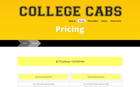 Screenshot of Pricing Page mycollegecabs.com - Pricing | College Cabs - captured Oct. 8, 2014