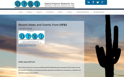 Screenshot of Press Page opri.net - News Events Optical Polymer Research, Inc - Contact Lens Polymer Research - captured Feb. 14, 2016