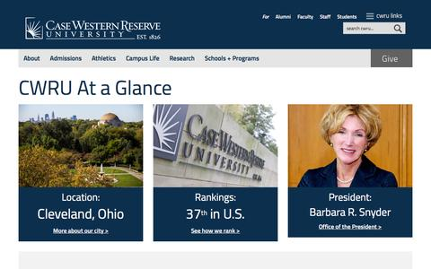 Screenshot of About Page case.edu - About | Case Western Reserve University - captured Dec. 3, 2015