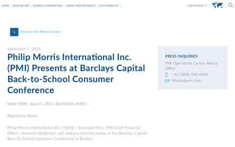 Screenshot of Press Page pmi.com - Philip Morris International Inc. (PMI) Presents at Barclays Capital   Back-to-School Consumer Conference - captured Nov. 1, 2018