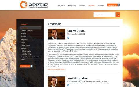 Screenshot of Team Page apptio.com - Meet Sunny Gupta and the Other Leaders Changing How IT Does Business - captured July 20, 2014