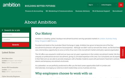 Screenshot of About Page ambition.co.uk - London Recruitment Agency - Professional Services recruitment specialists |  - Ambition UK - captured Jan. 18, 2017