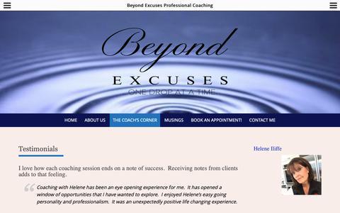 Screenshot of Testimonials Page beyondexcuses.com - Testimonials – Beyond Excuses Professional Coaching - captured Dec. 18, 2018
