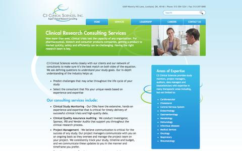 Screenshot of Services Page c3clinicalsciences.com - Clinical Research Consulting Services - captured Oct. 1, 2014
