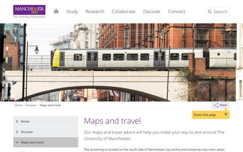 Screenshot of Maps & Directions Page manchester.ac.uk - Maps and travel | The University of Manchester - captured June 28, 2018