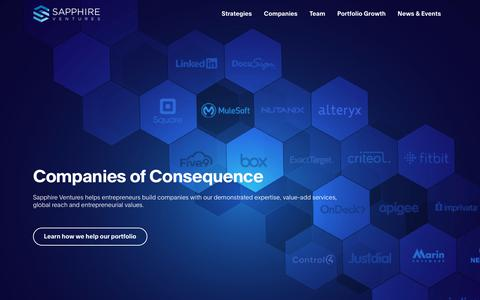 Screenshot of Home Page sapphireventures.com - Home - Sapphire Ventures - captured May 11, 2019