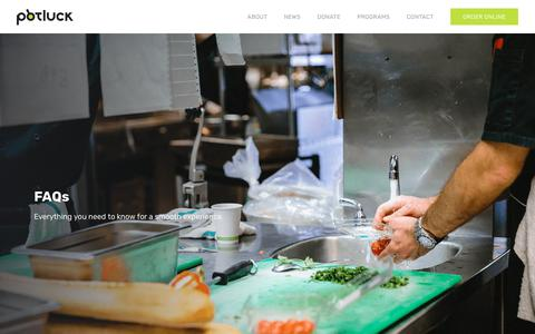 Screenshot of FAQ Page potluckcatering.org - Potluck Catering — FAQs - captured Sept. 29, 2018