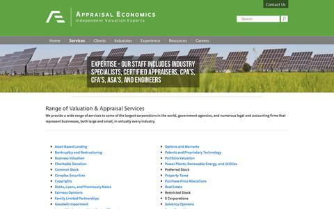 Screenshot of Services Page appraisaleconomics.com - Valuation & Appraisal Consulting Services - Appraisal Economics - captured Nov. 21, 2016