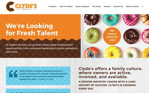 Screenshot of Jobs Page clydesdonuts.com - Careers – Clyde's Donuts - captured Nov. 7, 2016