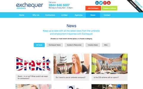 Screenshot of Press Page exchequersolutions.co.uk - News Archives - Exchequer Solutions - captured July 17, 2016