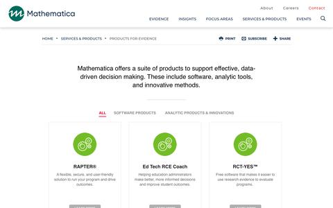 Screenshot of Products Page mathematica-mpr.com - Products - captured May 1, 2019