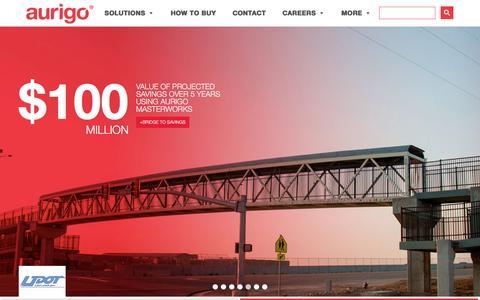 Screenshot of Home Page aurigo.com - Capital Planning, CIP, Capital Programs, Property Management, Highway Maintenance Software - captured Sept. 22, 2016