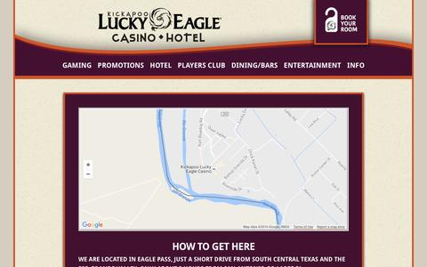 Screenshot of Maps & Directions Page luckyeagletexas.com - Kickapoo Lucky Eagle Casino Hotel  in Eagle Pass, Texas!  | Directions - captured Nov. 27, 2016