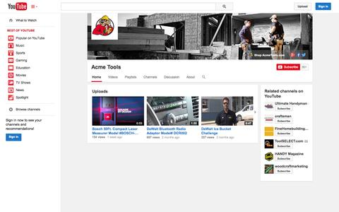 Screenshot of YouTube Page youtube.com - Acme Tools  - YouTube - captured Oct. 23, 2014