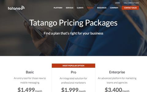 Screenshot of Pricing Page tatango.com - Pricing Packages | Tatango - captured March 15, 2017